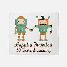 30th Anniversary Vintage Robot Coupl Throw Blanket