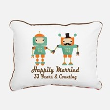 33rd Anniversary Vintage Rectangular Canvas Pillow