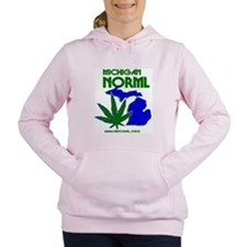 MINORML Two Color Leaf L Women's Hooded Sweatshirt