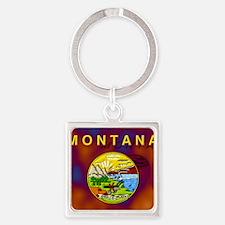 Montana State Flag Square Keychain