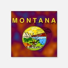 "Montana State Flag Square Sticker 3"" x 3"""