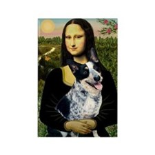 Mona Lisa/Cattle Dog Rectangle Magnet