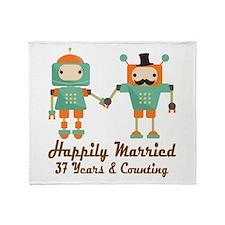37th Anniversary Vintage Robot Coupl Throw Blanket