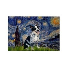 Starry Night Aussie Cattle Dog Rectangle Magnet