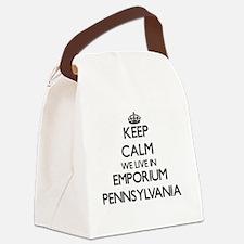 Keep calm we live in Emporium Pen Canvas Lunch Bag