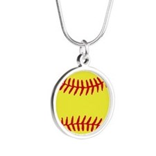 Cute Fast pitch softball Silver Round Necklace