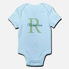 CUSTOM Initial and Name Green Onesie