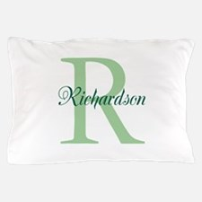 CUSTOM Initial and Name Green Pillow Case