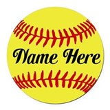 Softball Round Car Magnets