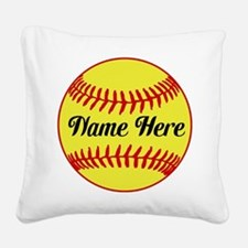 Personalized Softball Square Canvas Pillow