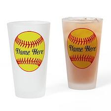 Personalized Softball Drinking Glass