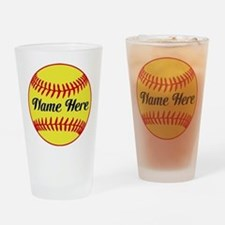 Personalized Softball Drinking Glass