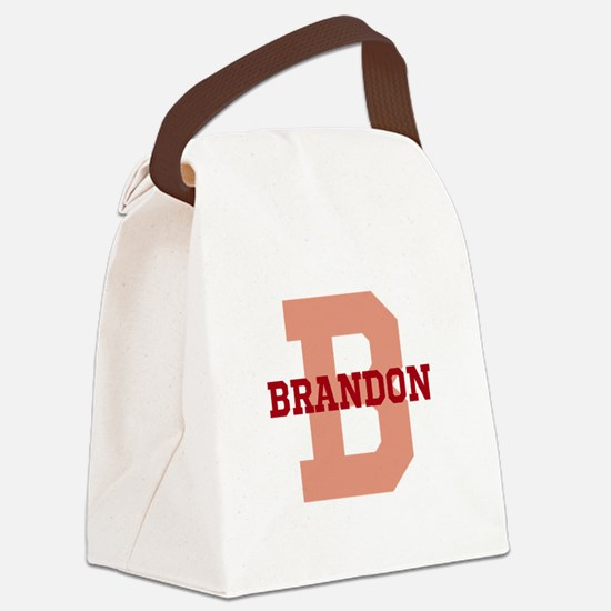 CUSTOM Initial and Name Red Canvas Lunch Bag