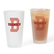 CUSTOM Initial and Name Red Drinking Glass