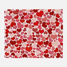 Abstract Red and Pink Hearts Pattern Throw Blanket