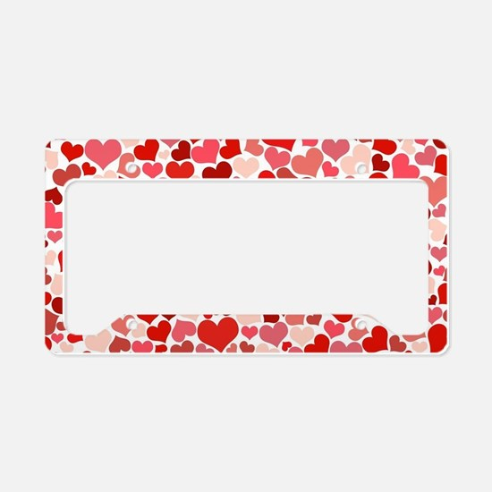Abstract Red and Pink Hearts  License Plate Holder