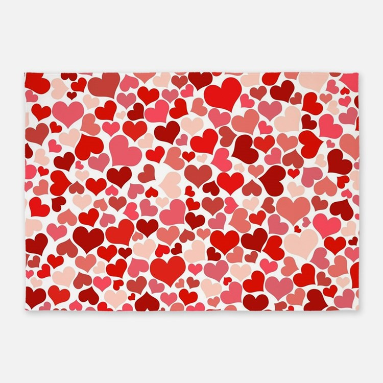 Abstract Red and Pink Hearts Patter 5'x7'Area Rug