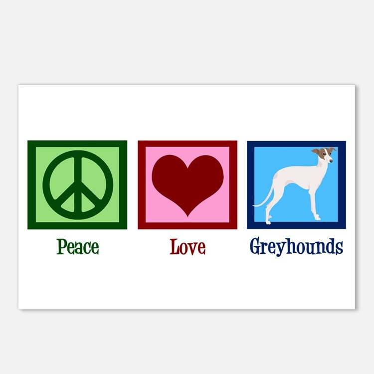 Peace Love Greyhounds Postcards (Package of 8)