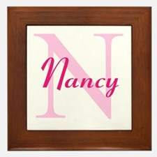 CUSTOM Initial and Name Pink Framed Tile