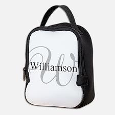 CUSTOM Initial and Name Gray/Bl Neoprene Lunch Bag