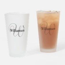 CUSTOM Initial and Name Gray/Black Drinking Glass