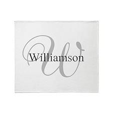 CUSTOM Initial and Name Gray/Black Throw Blanket