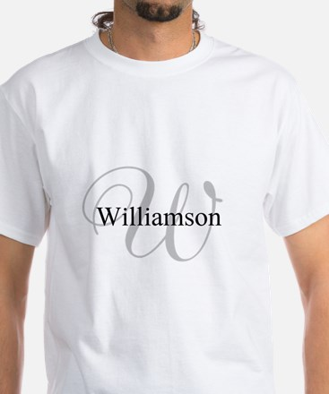 CUSTOM Initial and Name Gray/Black White T-Shirt