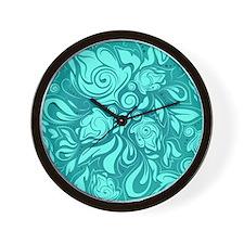 Teal Leaves Wall Clock