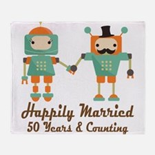 50th Anniversary Vintage Robot Coupl Throw Blanket
