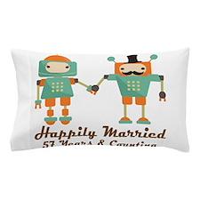 57th Anniversary Vintage Robot Couple Pillow Case
