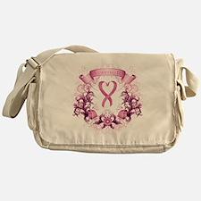 Survivor Pink Heart Ribbon Messenger Bag