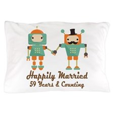 59th Anniversary Vintage Robot Couple Pillow Case