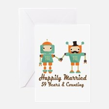 59th Anniversary Vintage Robot Coupl Greeting Card