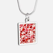 Abstract Red and Pink Hearts Pattern Necklaces