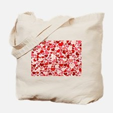 Abstract Red and Pink Hearts Pattern Tote Bag