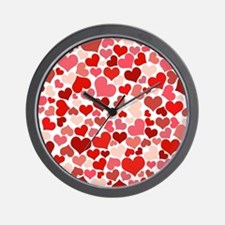 Abstract Red and Pink Hearts Pattern Wall Clock
