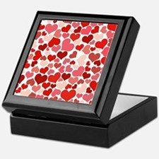 Abstract Red and Pink Hearts Pattern Keepsake Box