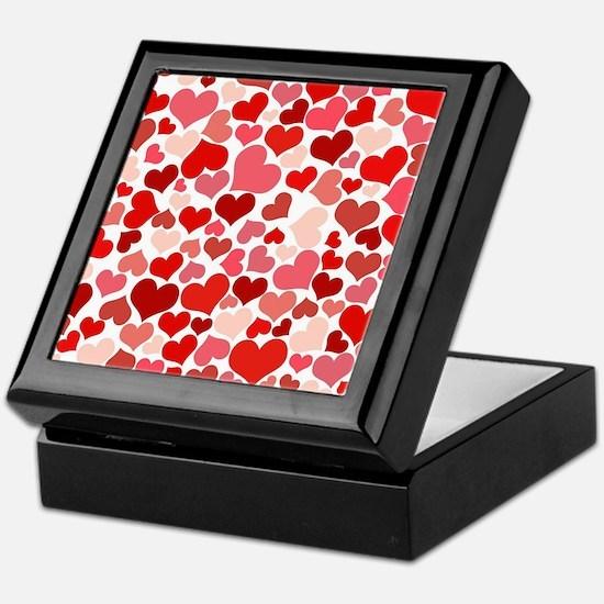 Abstract Red and Pink Hearts Pattern Keepsake Box