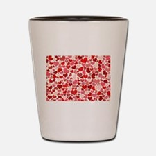 Abstract Red and Pink Hearts Pattern Shot Glass