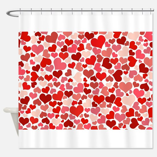 Abstract Red and Pink Hearts Patter Shower Curtain