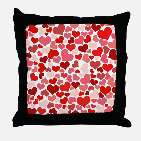 Abstract Red and Pink Hearts Pattern Throw Pillow