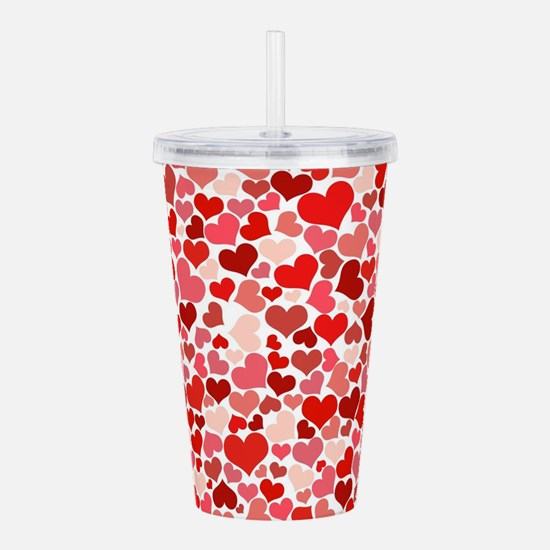 Abstract Red and Pink Acrylic Double-wall Tumbler