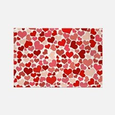 Abstract Red and Pink Hearts Patt Magnets