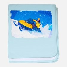Yellow Snowmobile in Blizzard Edges.p baby blanket
