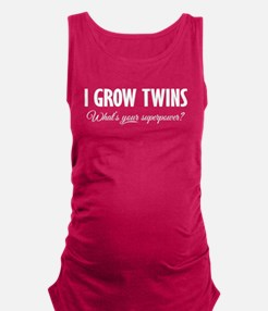 I Grow Twins - What's your supe Maternity Tank Top