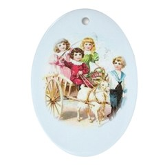 Oval Ornament Children with Goat Cart