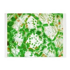 Green industrial abstract 5'x7'Area Rug