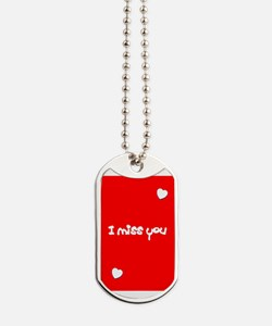 I Miss You Heart Valentines Red for Jimmy Dog Tags