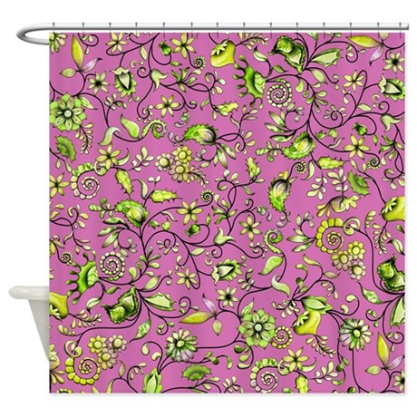 green floral on pink shower curtain by zodiarts. Black Bedroom Furniture Sets. Home Design Ideas