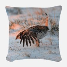 Sharptail Grouse Woven Throw Pillow